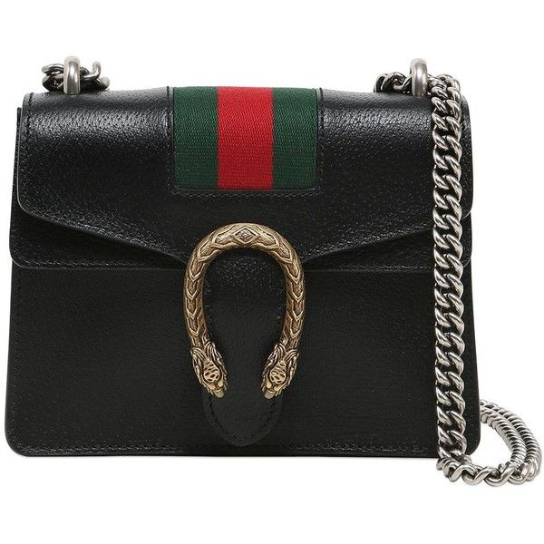 Gucci Women Mini Dionysus Leather Bag W/ Web Detail ($1,890) ❤ liked on Polyvore featuring bags, handbags, shoulder bags, black, real leather purses, chain shoulder bag, mini purse, leather handbags and leather shoulder handbags