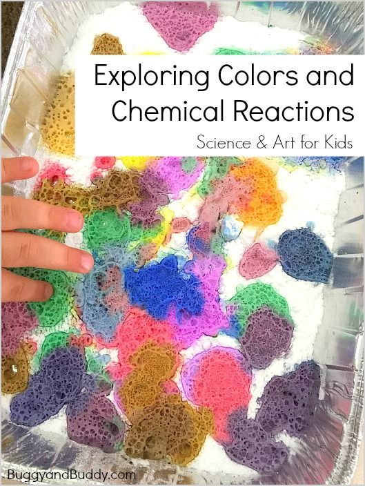 Science and Art for Kids: Exploring colors with chemical reactions (A fun science activity for preschool and kindergarten using baking soda and vinegar) ~ BuggyandBuddy.com via @https://www.pinterest.com/cmarashian/boards/