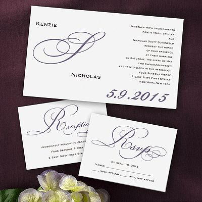 Simple but elegant monogram wedding invitations from our boutique #elegance