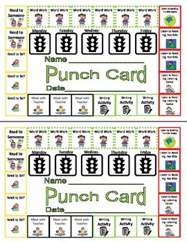 Daily Five (5) Centers Managed Independent Learing Punch Card- could have some possibilities for teachers who want to keep track of dailies