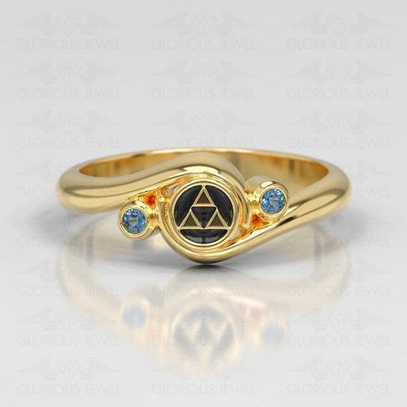 Zelda Engagement Ring Triforce White Gold Engagement Ring Nintendo Video Game Wedding Geek Engagement Ring Geeky Nerdy Custom Made Zelda Engagement Ring Geek Engagement Rings Zelda Engagement