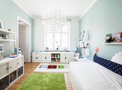Kid's room with great under window storage