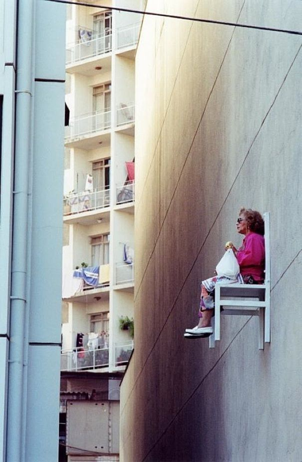 Elderly People Casually Sitting Above The Streets | Bored Panda