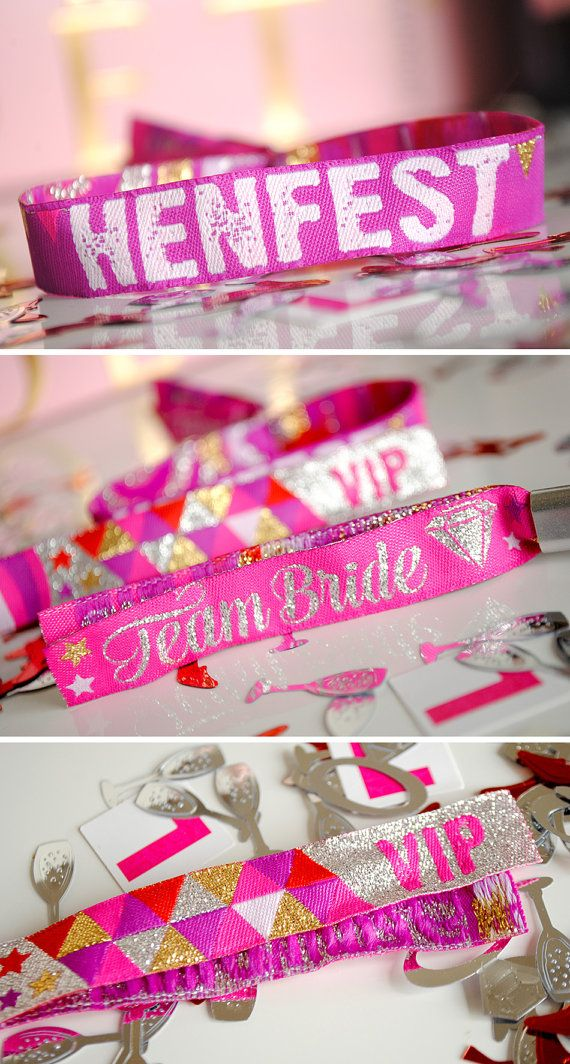 HENFEST Hens Party Wristbands If you are a festival bride or planning a festival themed wedding or festival themed Hen Party then these HENFEST