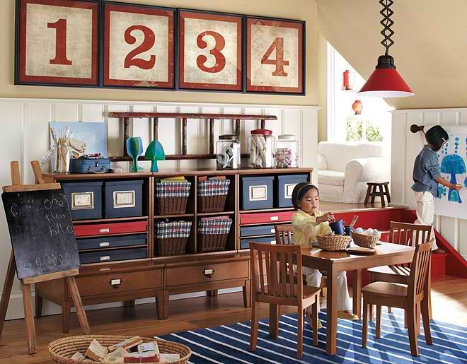 kids playroom.  Rustic furniture and great colours.