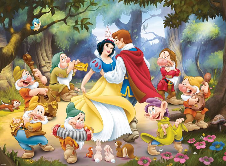 Snow White and the Seven Dwarfs dancing with her Prince Charming