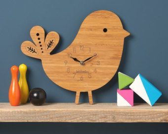 Dinosaur Clock T-Rex Modern Wall Clock Childrens by OwlandOtter
