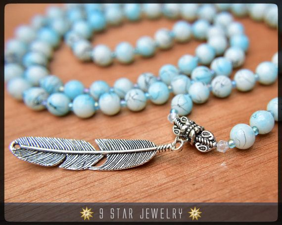 Baha'i Prayer Beads with feather charm