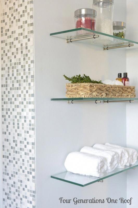 diy bathroom renovation glass shelving #Decoratingbathrooms