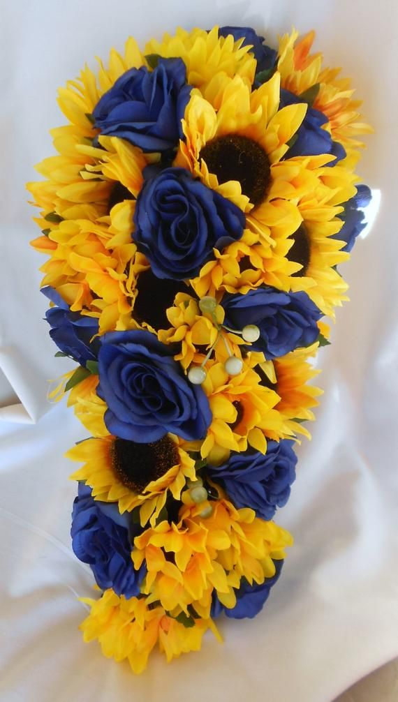 Royal Blue Roses And Sunflowers 2 Pieces Wedding Set Small