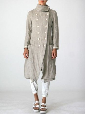 LONG LINEN JACKET - JACKETS, JUMPSUITS, DRESSES, TROUSERS, SKIRTS, JERSEY, KNITWEAR, ACCESORIES - Woman -