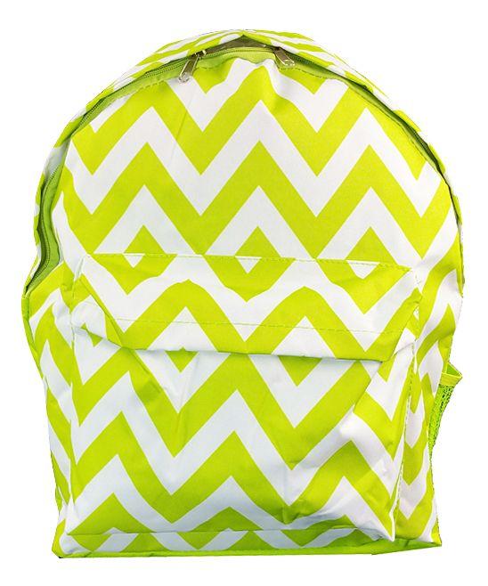 Lemon Green & White Chevron Backpack