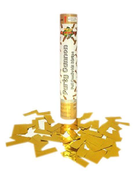 Cannone a coriandoli dorati (3.99€) Boom!  Questo cannoncino a coriandoli dorati spara ad un altezza di 5 metri e copre una superficie di 22 m². Funziona con una cartuccia ad aria compressa e fa del rumore quando si innesca; Usare solamente all'esterno. Create un meravoglioso effetto sorpresa con questo cannone a coriandoli nelle vostre feste di compleanno o in occasione di una festa.