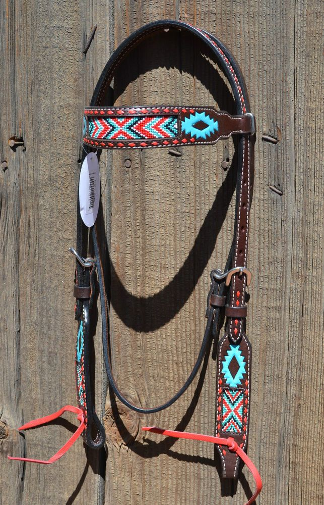 Hand Painted and Beaded Aztec Browband Headstall w/Red Buckstitching #OxbowTack