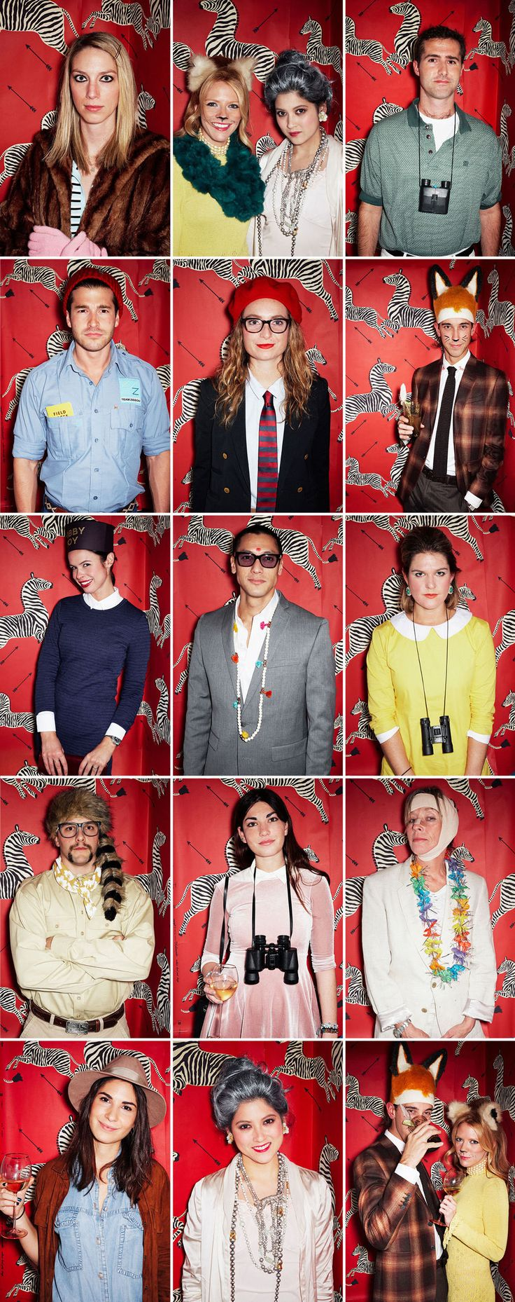 """A Wes Anderson-inspired party featured a photo booth with Scalamandre's iconic zebra-print wallpaper that appeared in Anderson's film """"The Royal Tenenbaums."""" Photo: Alonzo Maciel. """"A Fabulously Good Fete"""" written by Sarah Jean Shelton and produced by Samuel Masters. Lonny (December 2014/January 2015)."""
