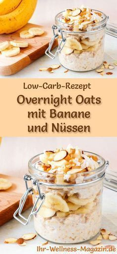 Low Carb Overnight Oats mit Banane und Nüssen – gesundes Rezept fürs Frühstück