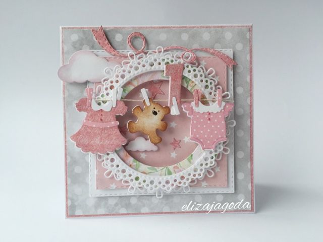 Kartka szaro-różowa dla dziewczynki na roczek