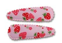Haarspeldjes roze aardbeien hoesje 5 cm