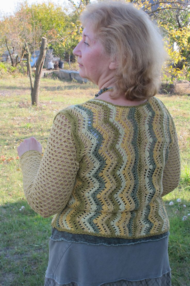 """Летний пуловер вязаный крючком. Узор """"Зиг-Заг"""". Summer pullover crocheted…"""