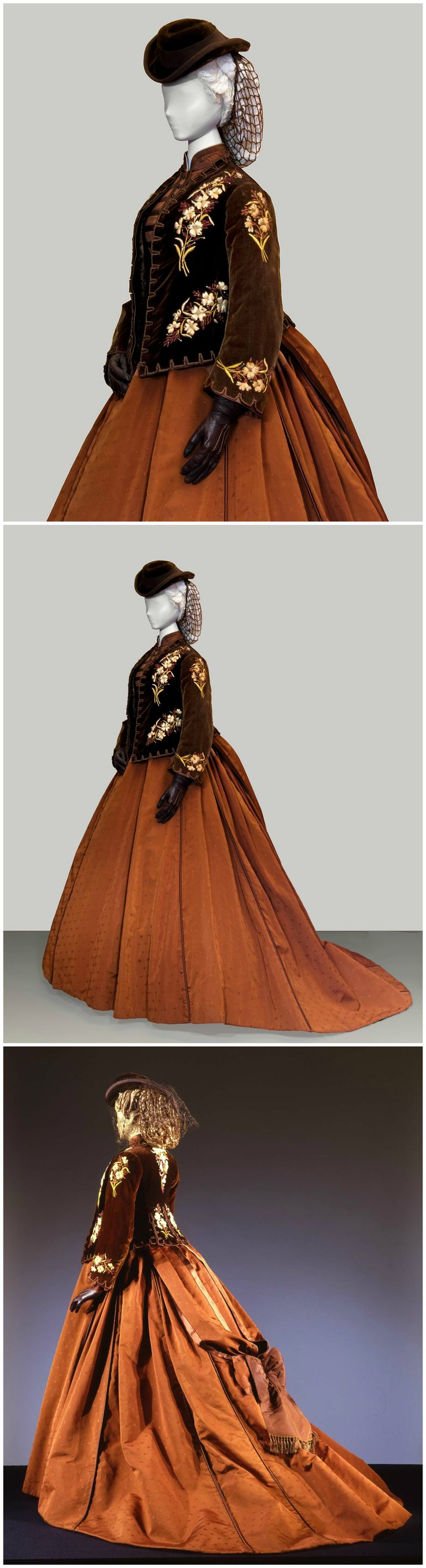 1860s-style costume, worn by Romy Schneider in the role of Empress Elisabeth of Austria in the film Ludwig (1972). Designed by Piero Tosi. Short jacket in brown velvet with small flowers embroidered in ivory and beige silk, lined in otter. Gown in brown with big satin bow. Collection of Pitti Palace Costume Gallery, via: (Top & Middle): Eventi Culturali Magazine; (Bottom): Europeana Fashion Tumblr (photo: Gabinetto fotografico SBAS, Mario Carrieri).
