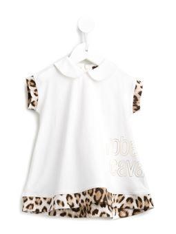 leopard print trim dress