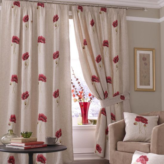 Red Vintage Poppy Curtain Collection Dunelm Mill