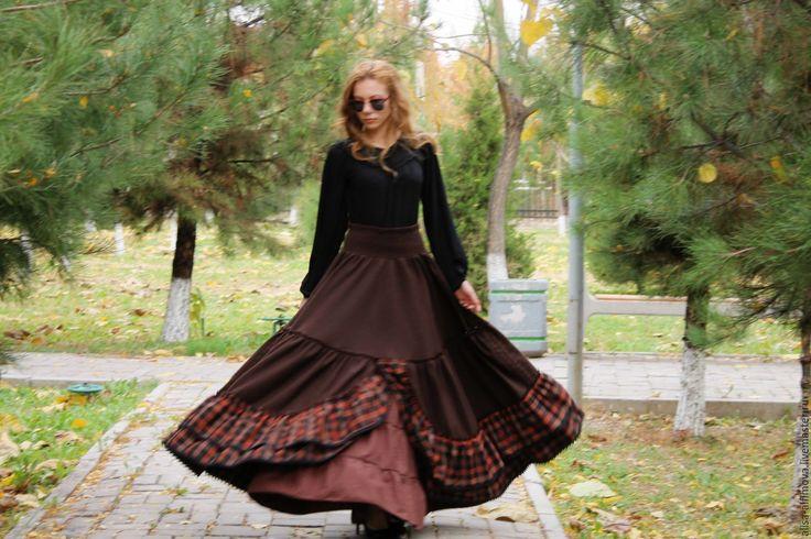"""Купить Бохо-юбочка """"За счастьем"""" зимняя - коричневый, однотонный, теплая юбка, зимняя юбка"""