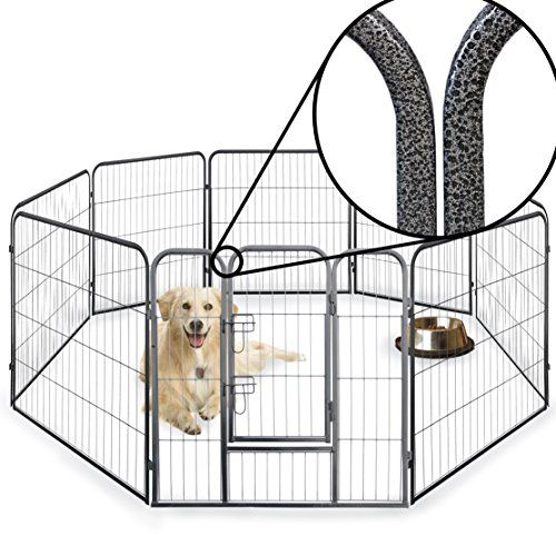 From 79.99 8 Side 60cm 80cm & 100cm Tall Heavy Duty Strong Pet Whelping Playpen Dog Puppy Cage Crate Folding Fence Indoor Outdoor (80cm)