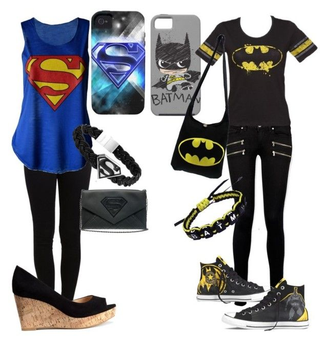 """Batman Vs. Superman"" by neverland-is-my-home ❤ liked on Polyvore featuring Pieces, Paige Denim, H&M and Converse"