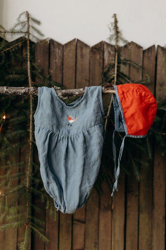 285dba45905f Linen Romper, Hand Embroidery, Dusty Blue Baby Romper, Linen Kids Clothing,  Linen