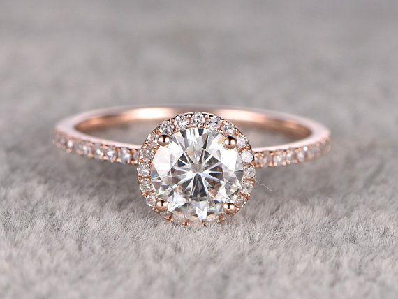 Moissanite Engagement ring,14K&18K Rose/Yellow/White Gold Available. Every Jewelry in my store needs making to order. The Engagement ring features a 7mm Round Cut Charles & Colvard Moissanite,diamond go half around the band.  [Item details]  Engagement Ring: Solid 14K Rose Gold(Can be made in white/yellow/rose gold)  Band Width approx 1.3mm  Size 5#(Ring can be resized)  7mm Round cut 1.25ctw Charles & Colvard Moissanite  0.26ctw Round Cut SI-H Natural Conflict...