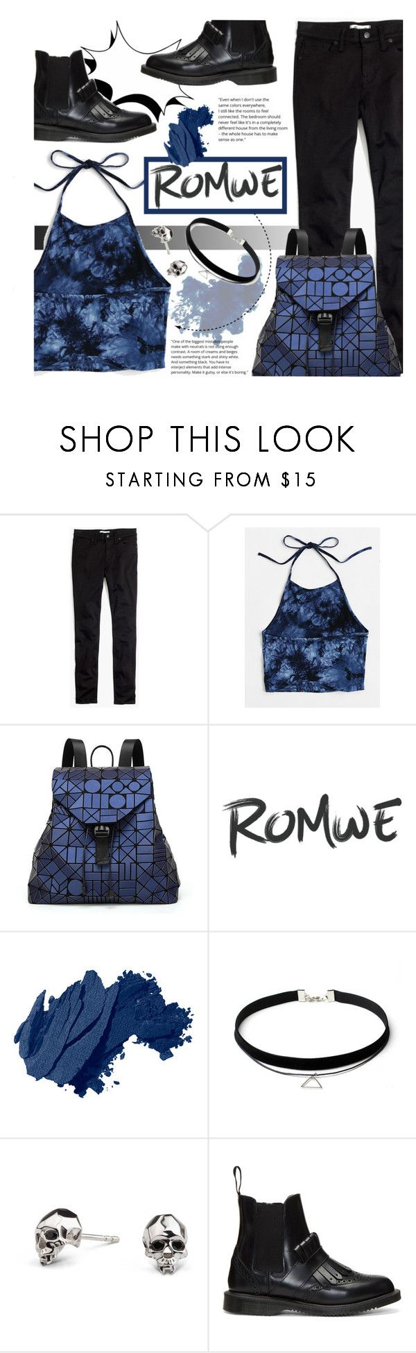 """""""Romwe blue cami top!"""" by nvoyce ❤ liked on Polyvore featuring Madewell, Bao Bao by Issey Miyake, Bobbi Brown Cosmetics, Kasun and Dr. Martens"""