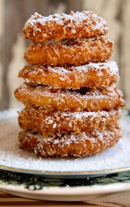 Double Battered Apple Doughnuts Recipe ~ Says: The batter is spiced and crunchy, the apple inside is tender with just a hint of crunch.  They're cooked but still maintain a bit of crunch.