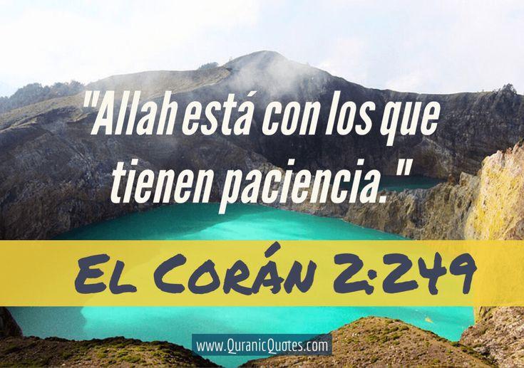 #20 El Corán 02:249 (Surah al-Baqarah) Allah está con los que tienen paciencia. Allah is with the steadfast. #Quran #quranic #quotes #spanish #espanol #coran #verses #Allah #Religion #Islam #Muslim #inspiration #mercy #power #peace #Islamic #reminders