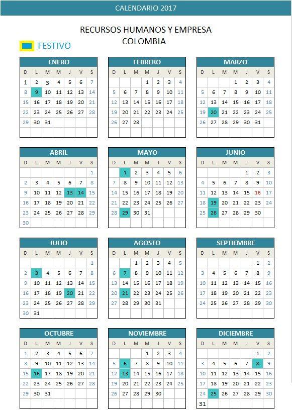 Calendario laboral Colombia 2017