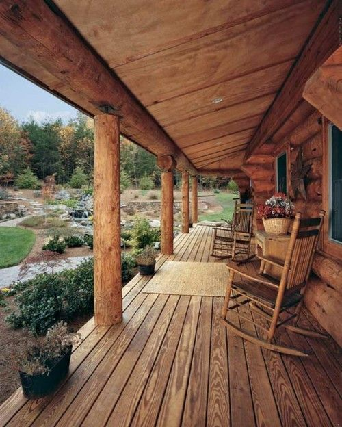 rustic log cabin porch