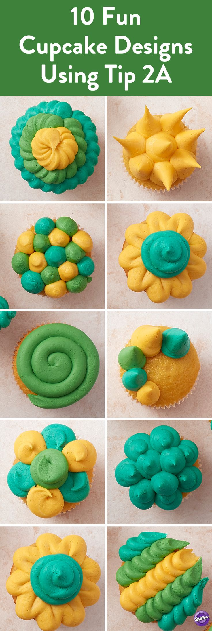 10 Fun Cupcake Designs with Tip 2A - Create fun buttercream cupcake designs using just one tip! From swirls to spirals, flowers to spikes, the WIlton decorating tip 2A can bring your cupcakes to life. Mix and match colors and styles for a striking collection of cupcakes that's sure to impress!