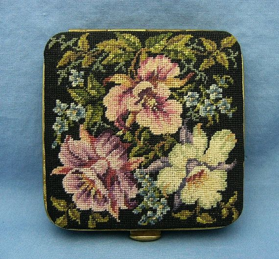 Vintage Petit Point Compact by Jolles by VintagePlusJewelry