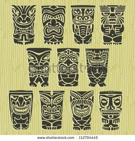 Vintage Carved Polynesian Tiki Totem Vector Idol Masks - stock vector