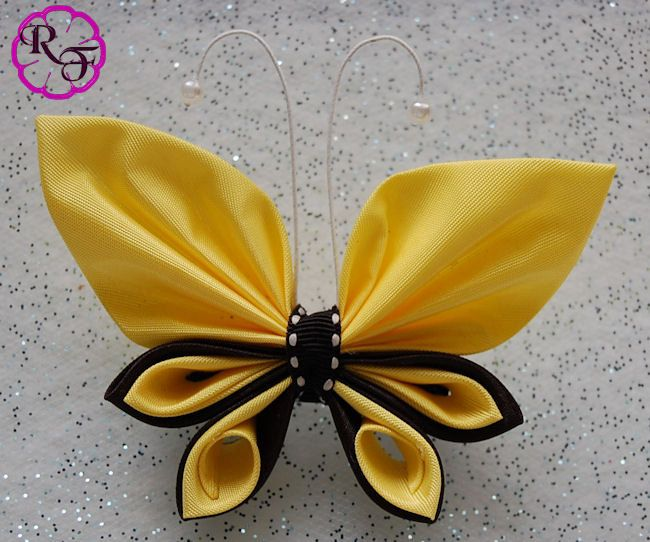 Kanzashi butterfly yellow and black butterfly por RainOfFlowers