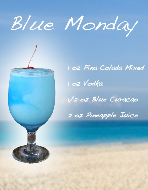 Blue Monday - Frozen Drink Recipe hmmmmm going to make these on Mondays this summer !