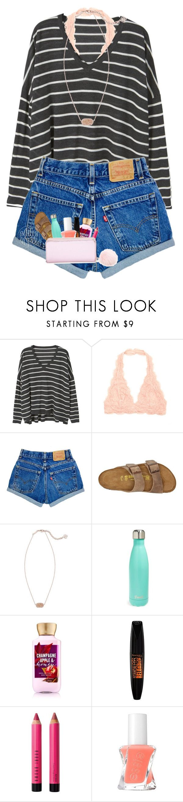 """""""A bunch of ppl just followed me for some reason """" by marthaswilliams ❤ liked on Polyvore featuring MANGO, Birkenstock, Kendra Scott, S'well, Rimmel, Bobbi Brown Cosmetics, Essie and Forever 21"""