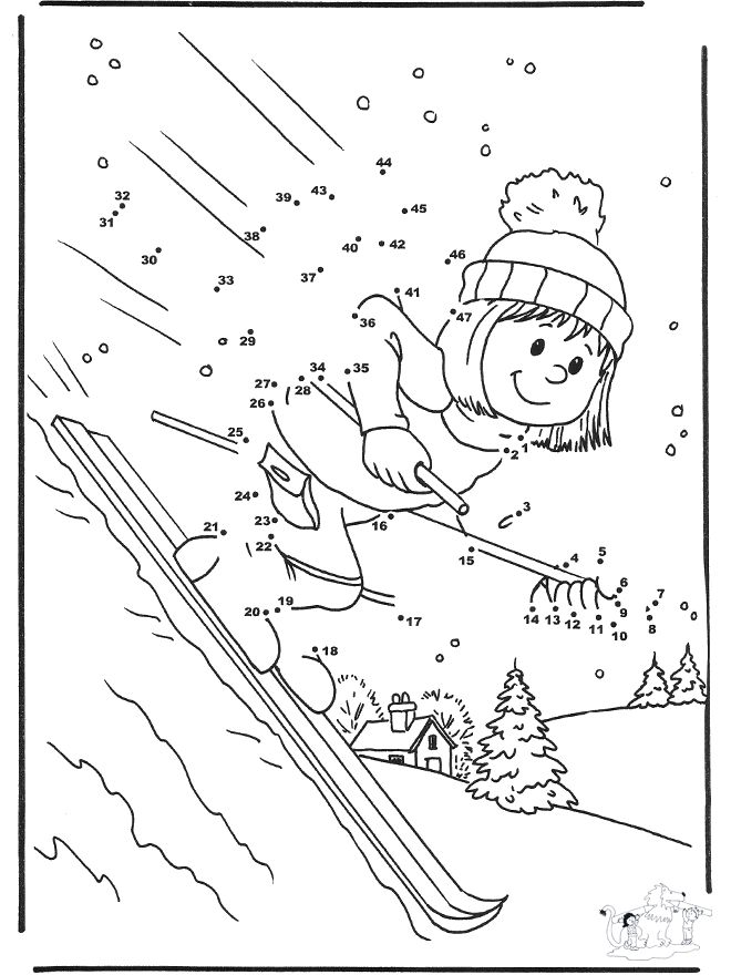 Winter Theme Coloring Pages | Winter coloring pages / Winter Sports / Number drawing ski