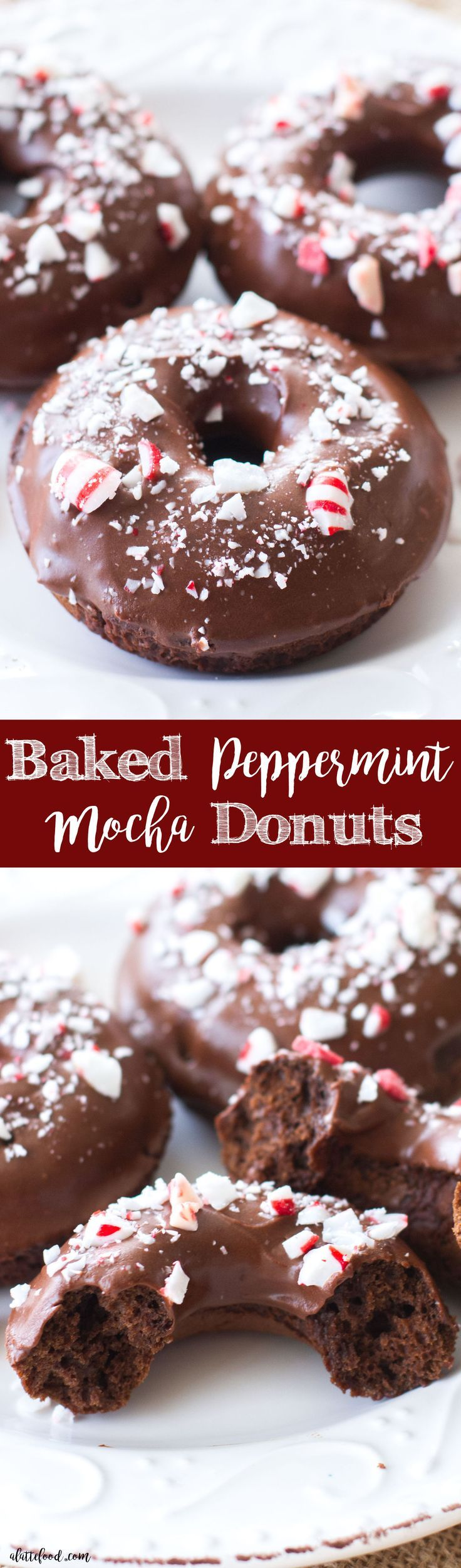 These easy baked chocolate donuts are filled with coffee and rich chocolate, and topped with a chocolate peppermint glaze. The perfect Christmas dessert! A simple chocolate donut recipe you're sure to love!