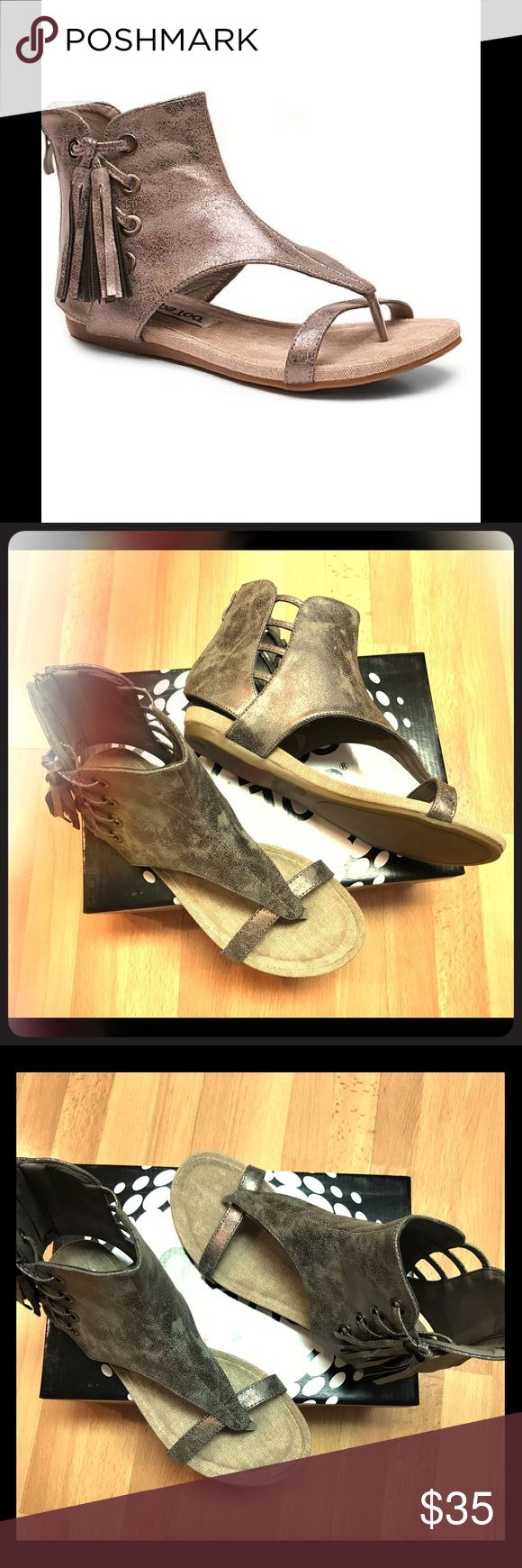 """Two Lips Pewter Sandal NEW, NEVER WORN. Sizing: True to size. - Thong toe - Solid T-strap - Back zip closure - Side cutout detail - Fringe detail - Approx. 1"""" heel - Imported Materials Synthetic upper, manmade sole Two Lips Shoes Sandals"""