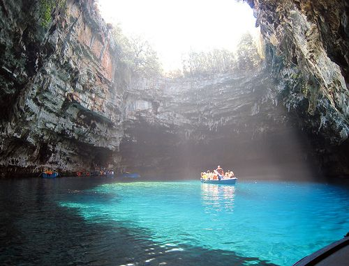lake melissani in greece - took a little boattrip on this lake with my mom when we were cycling through kefalonia