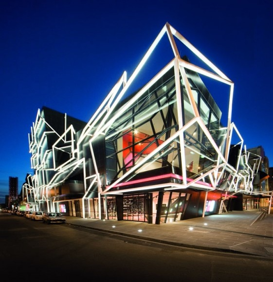 The Melbourne Recital Centre and the Melbourne Theater Company is spectacular entertainment building in Southbank, Melbourne designed by Ashton Raggatt McDougal Melbourne (ARM) Architects.