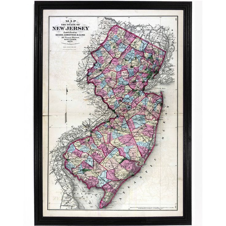 1872 New Jersey Print 98 best New