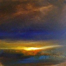 """Kiss of last light"" by landscape artist David Taylor - Oil on canvas"