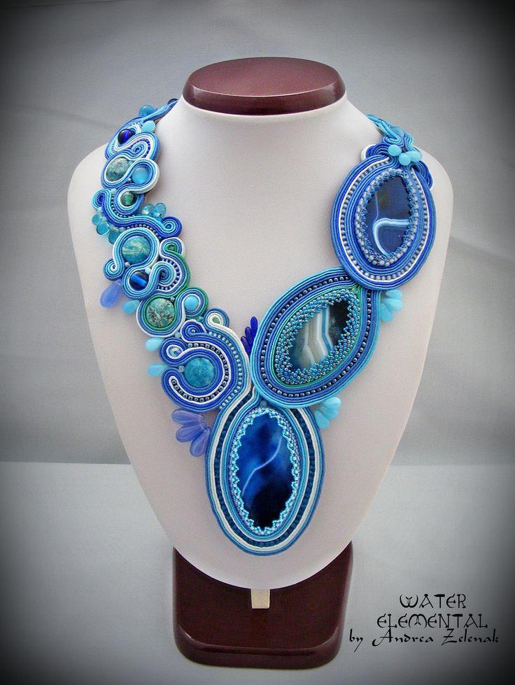 Soutache necklace - Water - Andrea Zelenak